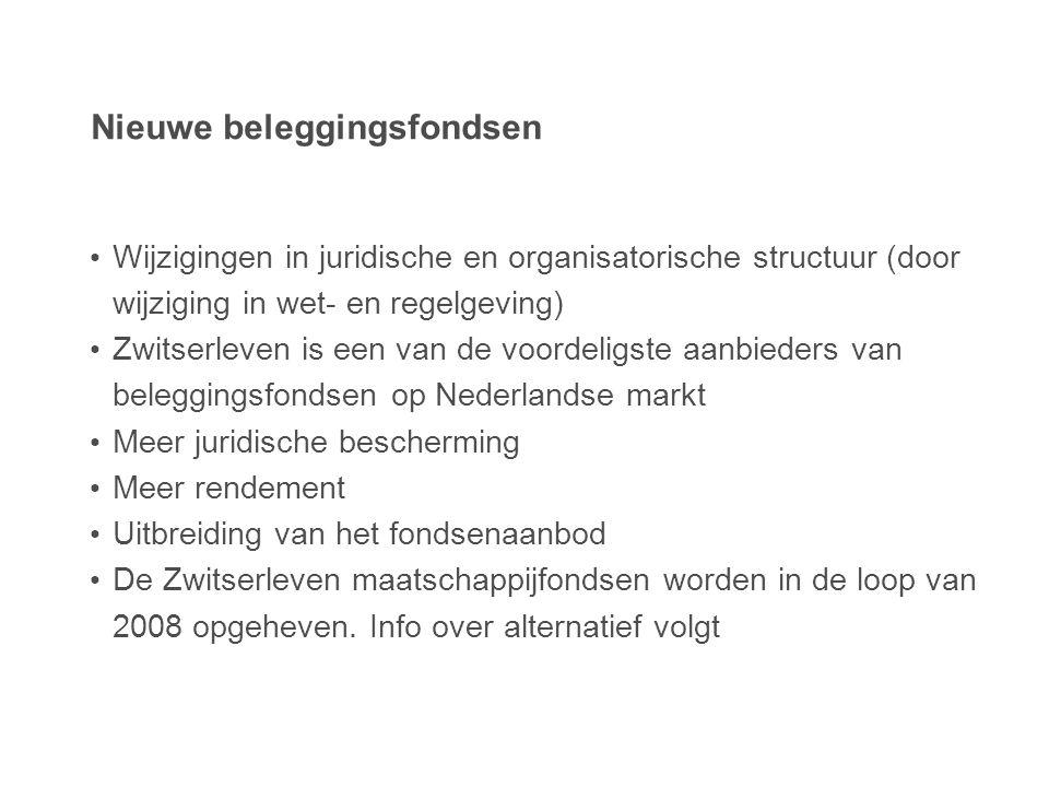 Nieuwe beleggingsfondsen • Wijzigingen in juridische en organisatorische structuur (door wijziging in wet- en regelgeving) • Zwitserleven is een van d