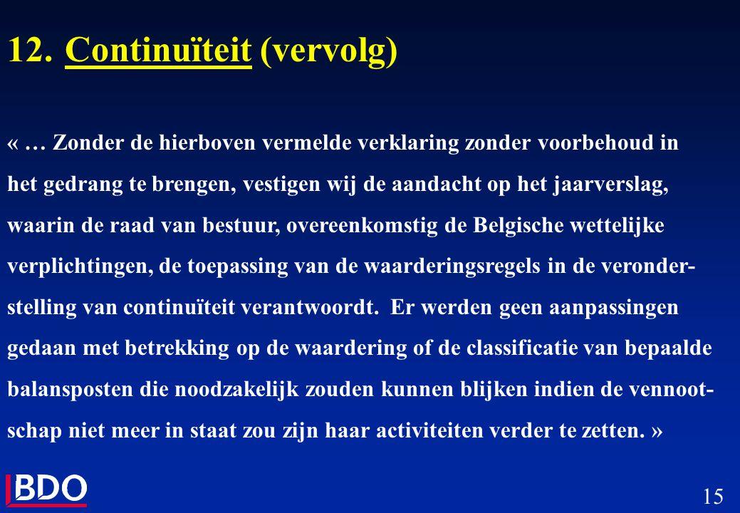 15 12.Continuïteit (vervolg) « … Zonder de hierboven vermelde verklaring zonder voorbehoud in het gedrang te brengen, vestigen wij de aandacht op het