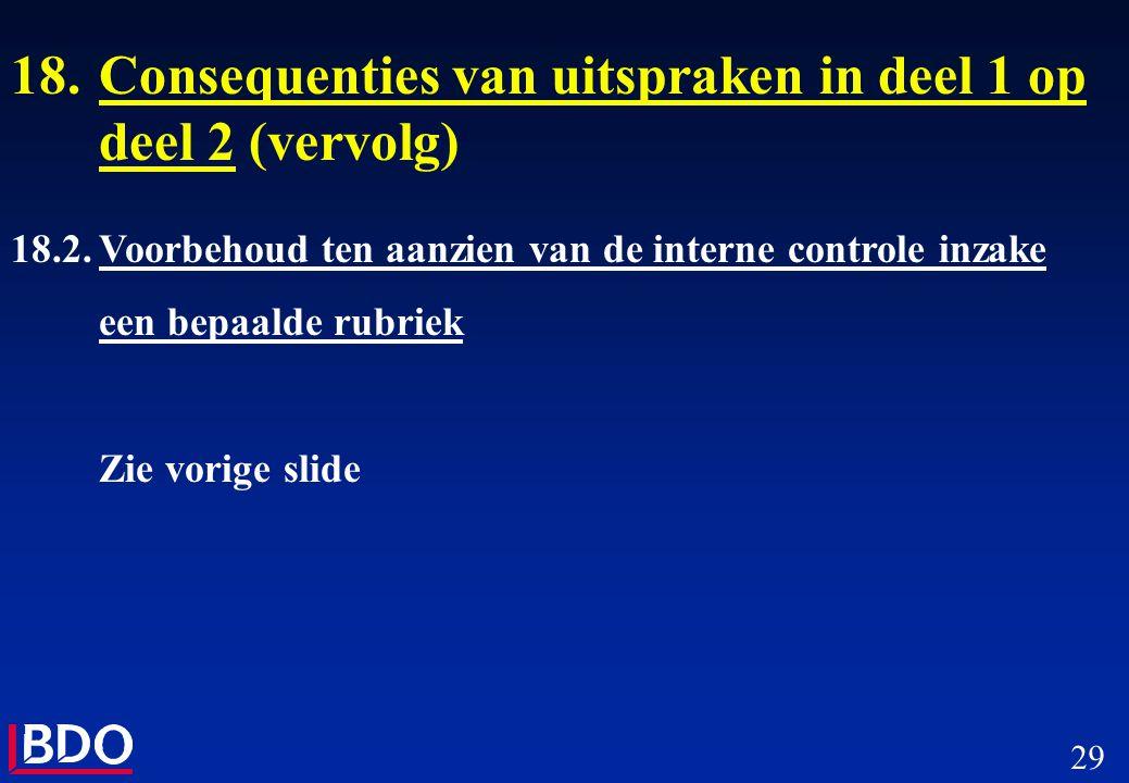 29 18.Consequenties van uitspraken in deel 1 op deel 2 (vervolg) 18.2.Voorbehoud ten aanzien van de interne controle inzake een bepaalde rubriek Zie v