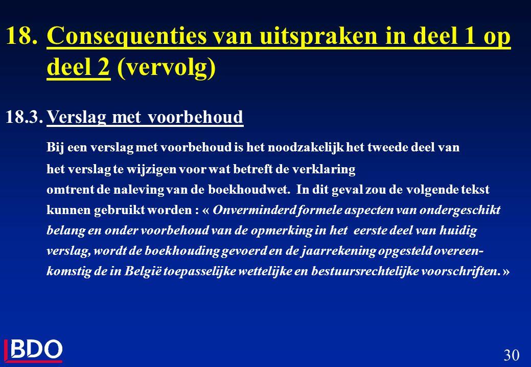 30 18.Consequenties van uitspraken in deel 1 op deel 2 (vervolg) 18.3.Verslag met voorbehoud Bij een verslag met voorbehoud is het noodzakelijk het tw