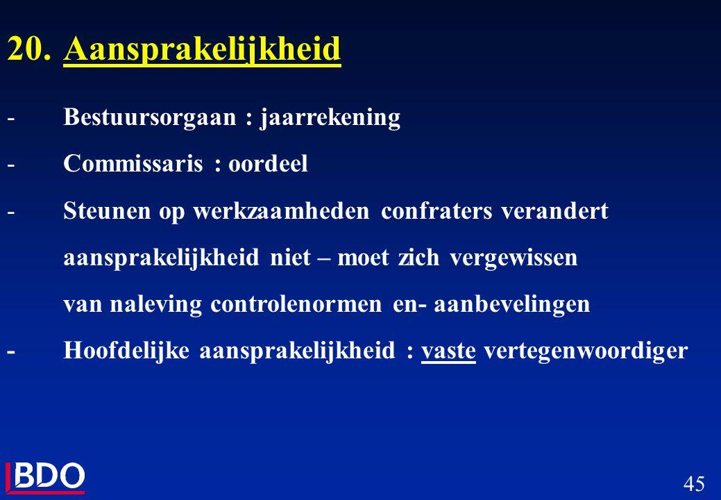45 20.Aansprakelijkheid -Bestuursorgaan : jaarrekening -Commissaris : oordeel -Steunen op werkzaamheden confraters verandert aansprakelijkheid niet –