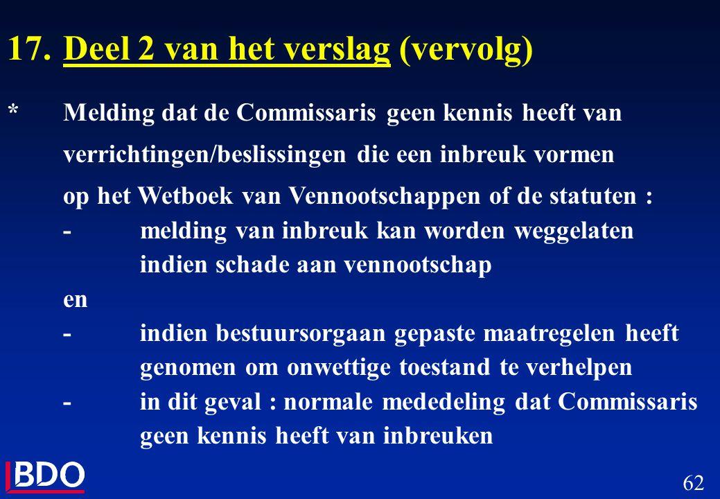 62 17.Deel 2 van het verslag (vervolg) *Melding dat de Commissaris geen kennis heeft van verrichtingen/beslissingen die een inbreuk vormen op het Wetb