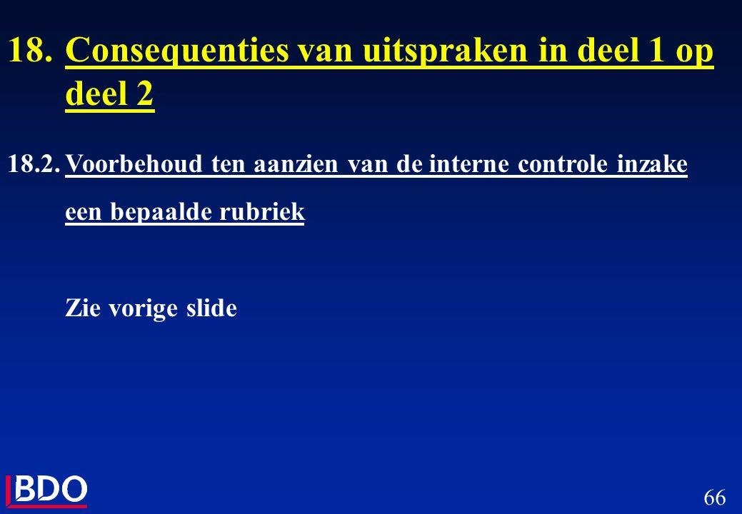 66 18.Consequenties van uitspraken in deel 1 op deel 2 18.2.Voorbehoud ten aanzien van de interne controle inzake een bepaalde rubriek Zie vorige slid