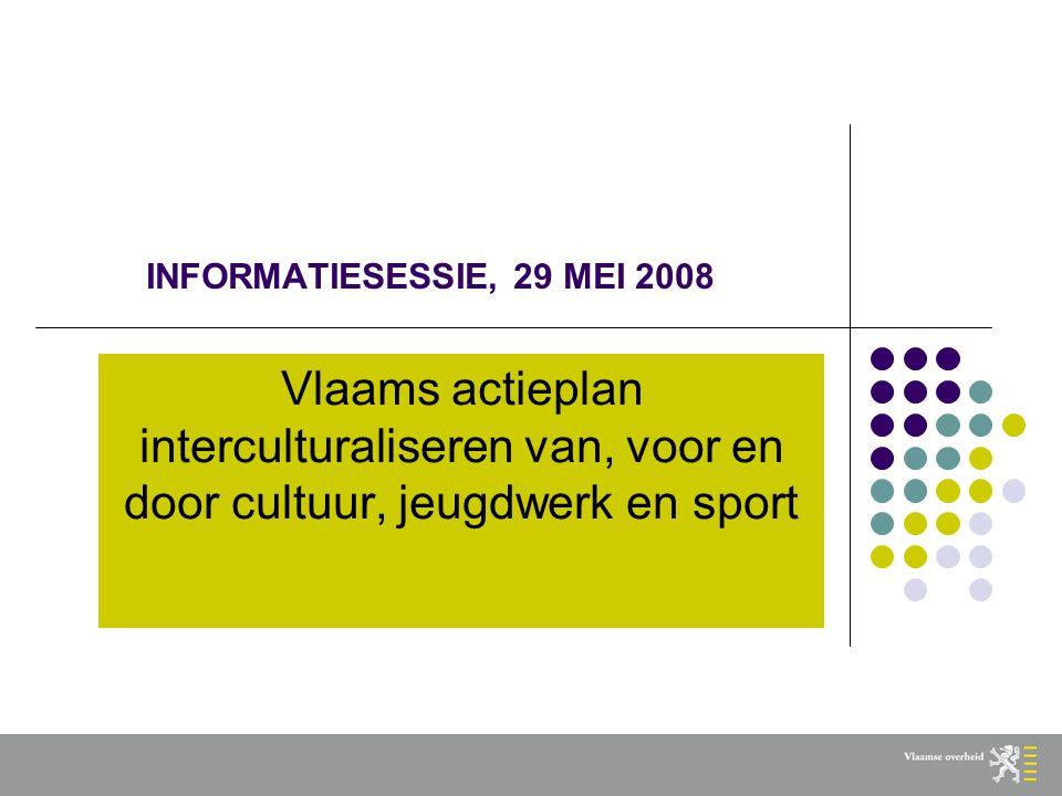 INFORMATIESESSIE, 29 MEI 2008 Vlaams actieplan interculturaliseren van, voor en door cultuur, jeugdwerk en sport