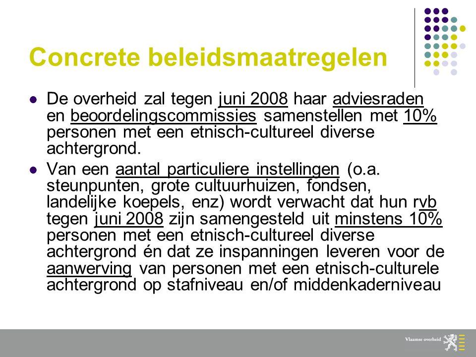 Concrete beleidsmaatregelen  De overheid zal tegen juni 2008 haar adviesraden en beoordelingscommissies samenstellen met 10% personen met een etnisch-cultureel diverse achtergrond.