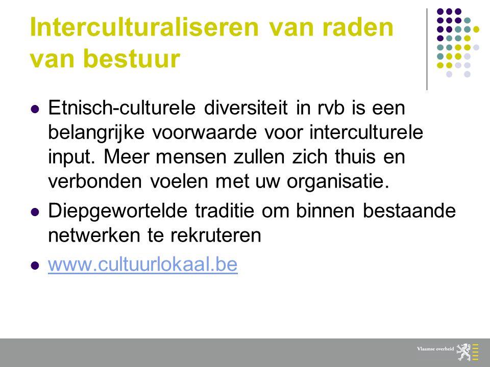 Interculturaliseren van raden van bestuur  Etnisch-culturele diversiteit in rvb is een belangrijke voorwaarde voor interculturele input.