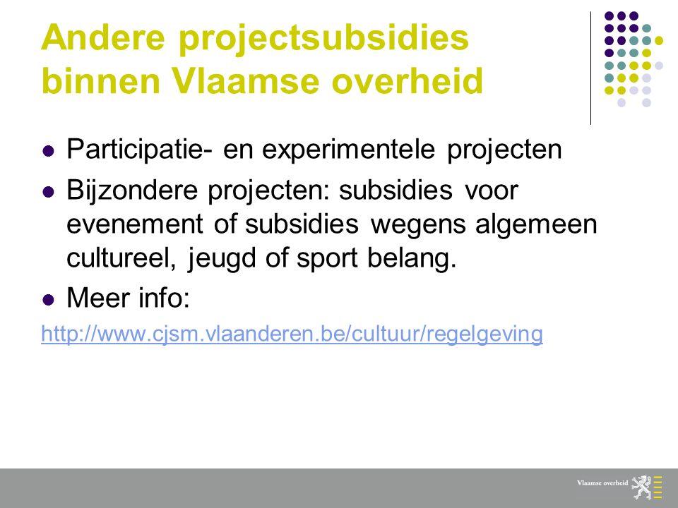 Andere projectsubsidies binnen Vlaamse overheid  Participatie- en experimentele projecten  Bijzondere projecten: subsidies voor evenement of subsidies wegens algemeen cultureel, jeugd of sport belang.
