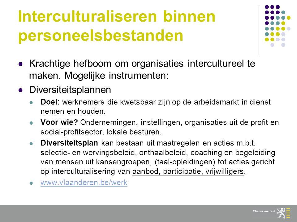 Interculturaliseren binnen personeelsbestanden  Krachtige hefboom om organisaties intercultureel te maken.