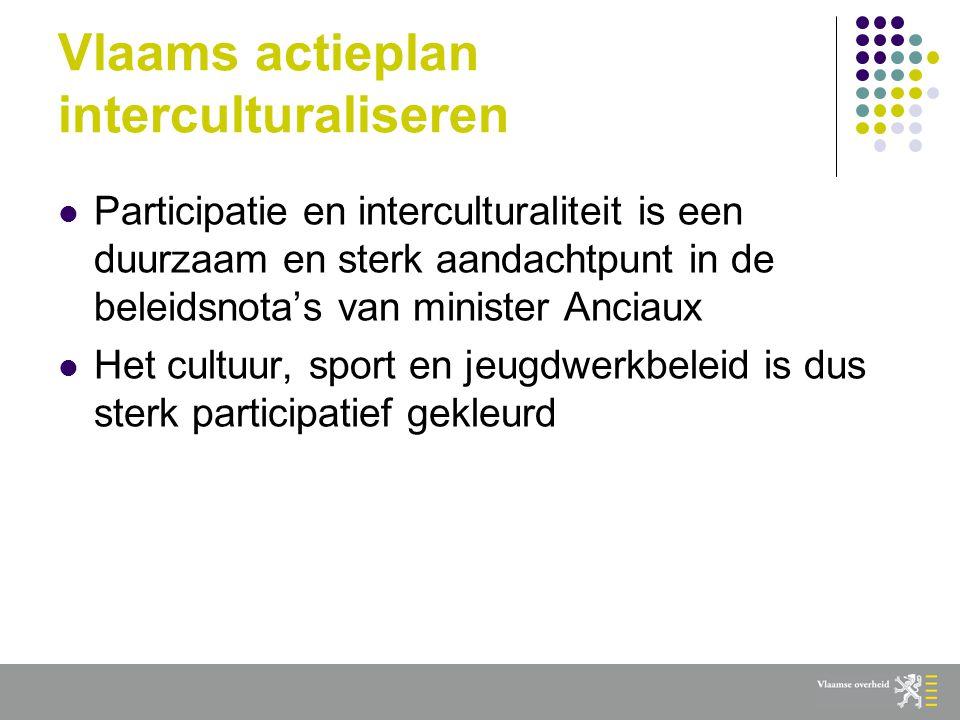 Vlaams actieplan interculturaliseren  Participatie en interculturaliteit is een duurzaam en sterk aandachtpunt in de beleidsnota's van minister Anciaux  Het cultuur, sport en jeugdwerkbeleid is dus sterk participatief gekleurd