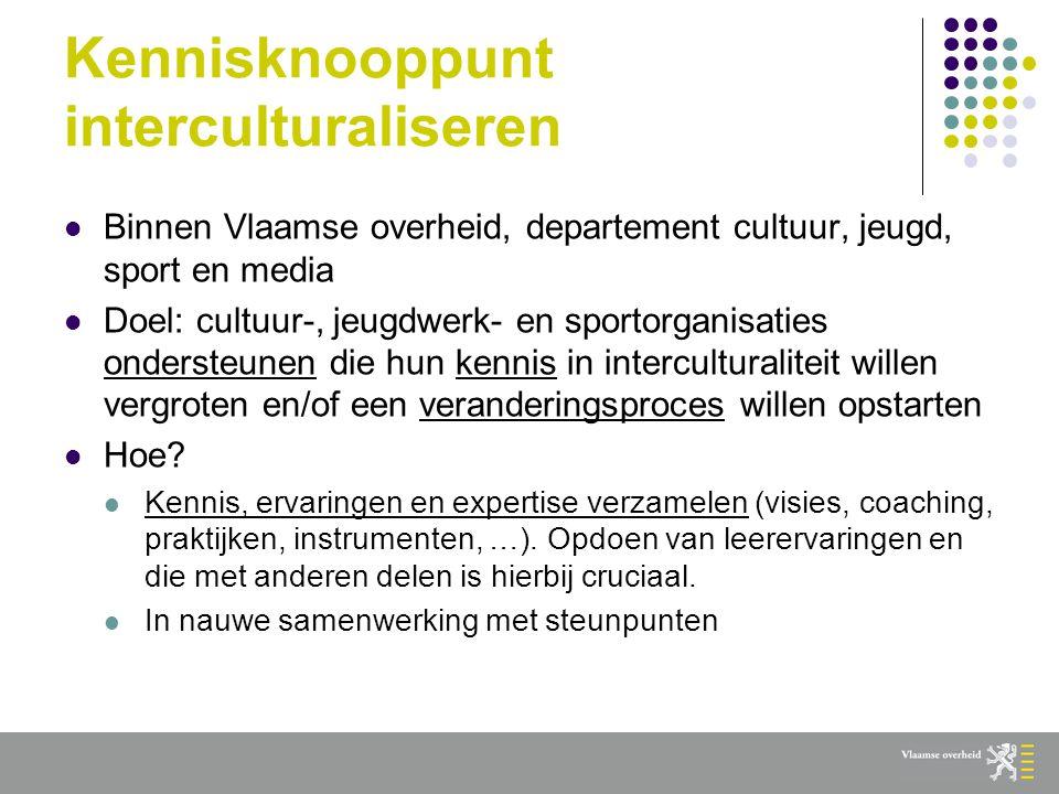 Kennisknooppunt interculturaliseren  Binnen Vlaamse overheid, departement cultuur, jeugd, sport en media  Doel: cultuur-, jeugdwerk- en sportorganisaties ondersteunen die hun kennis in interculturaliteit willen vergroten en/of een veranderingsproces willen opstarten  Hoe.