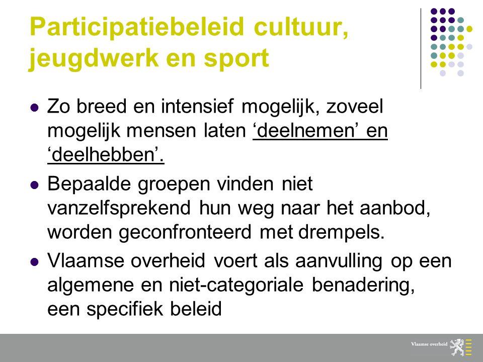 Participatie en interculturaliteit  Vlaams cultuur-, jeugdwerk- en sportbeleid hanteert diversiteit als een heel breed koepelbegrip waarin voor veel vormen een bijzondere en concrete aandacht is.