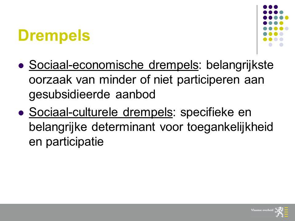 Drempels  Sociaal-economische drempels: belangrijkste oorzaak van minder of niet participeren aan gesubsidieerde aanbod  Sociaal-culturele drempels: specifieke en belangrijke determinant voor toegankelijkheid en participatie