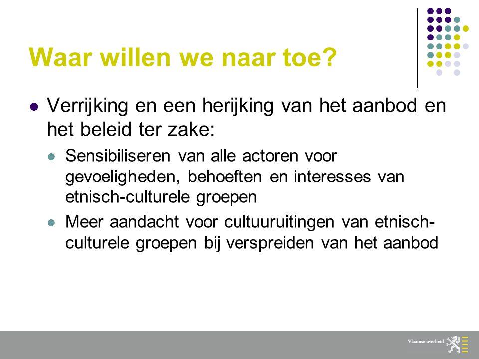 Gedeelde verantwoordelijkheid  Particuliere sector: grote autonomie ook in omgaan met interculturaliteit  Individuen: kunstenaars, sporters, jeugdwerkers … kunnen bondgenoten zijn  Vlaamse overheid: voorbeeldfunctie