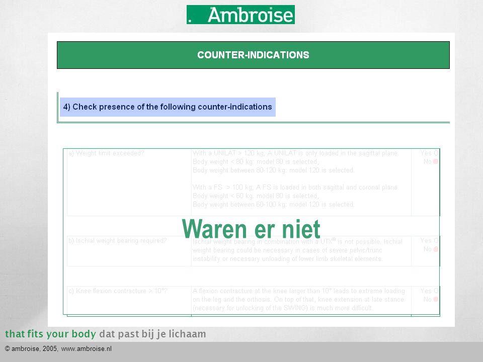 that fits your bodydat past bij je lichaam © ambroise, 2005, www.ambroise.nl ● ● ● Waren er niet