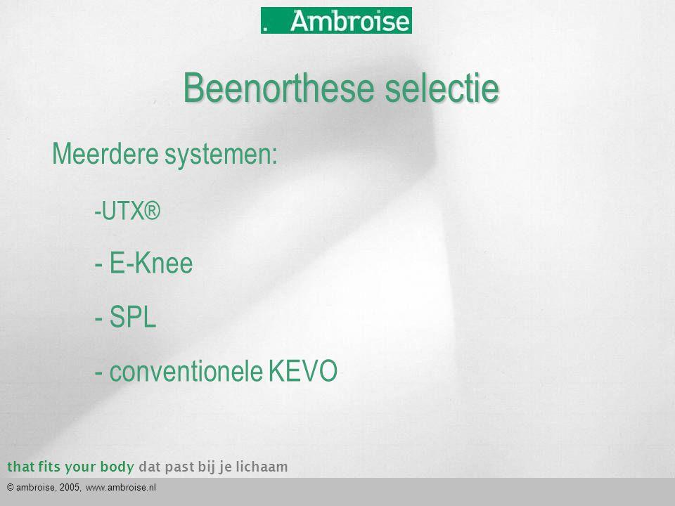 that fits your bodydat past bij je lichaam © ambroise, 2005, www.ambroise.nl Hoe selecteer ik dan een patient-produkt combinatie.
