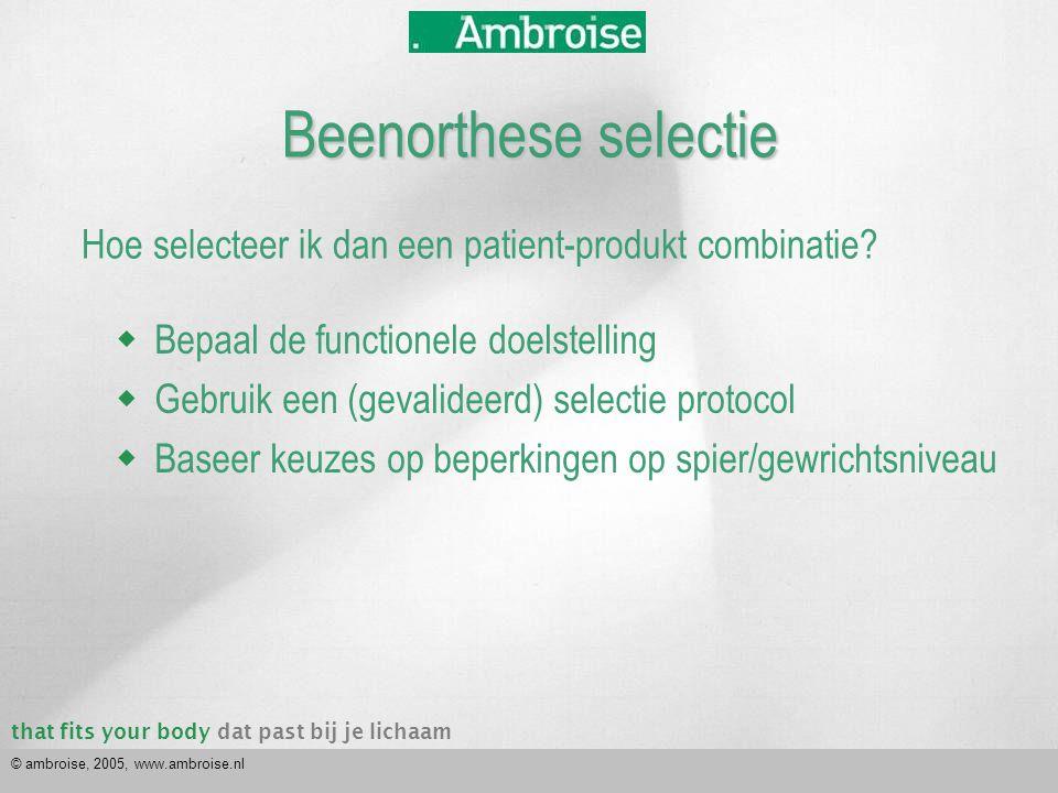 that fits your bodydat past bij je lichaam © ambroise, 2005, www.ambroise.nl Hoe selecteer ik dan een patient-produkt combinatie?  Bepaal de function