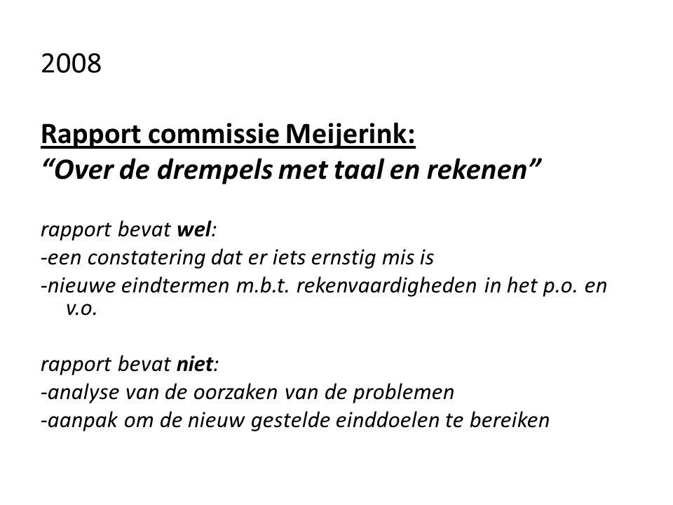"""2008 Rapport commissie Meijerink: """"Over de drempels met taal en rekenen"""" rapport bevat wel: -een constatering dat er iets ernstig mis is -nieuwe eindt"""