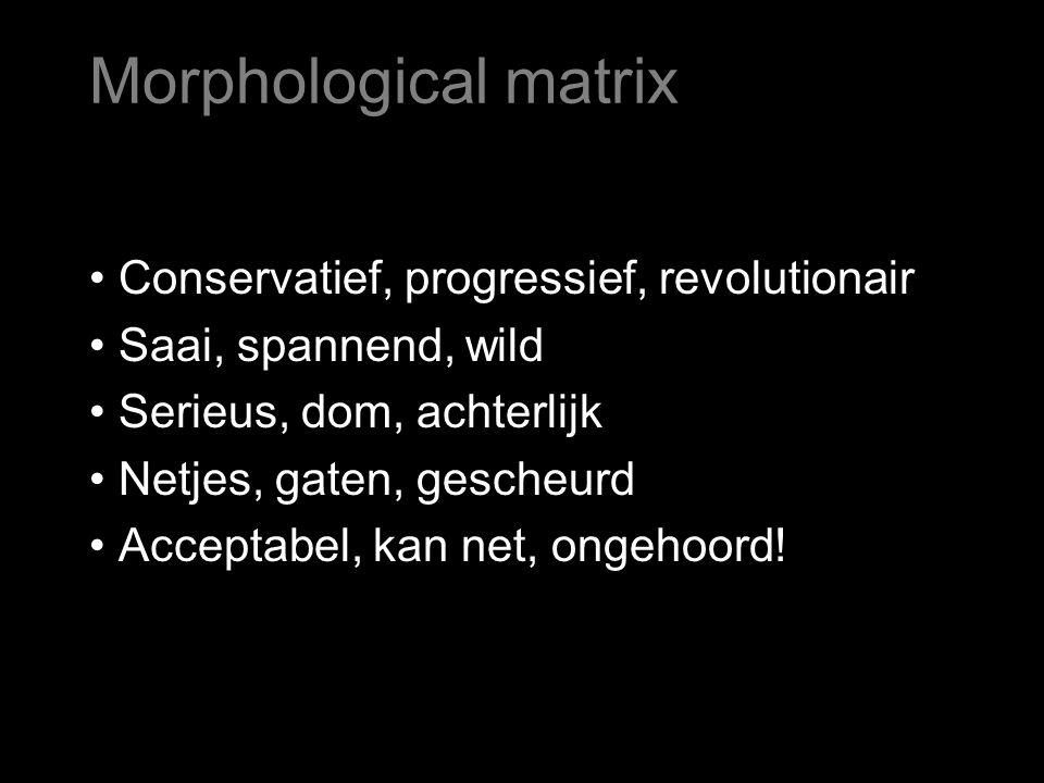 Zelfde voorbeeld: Verzin een activiteit voor kinderen. Morphological matrix