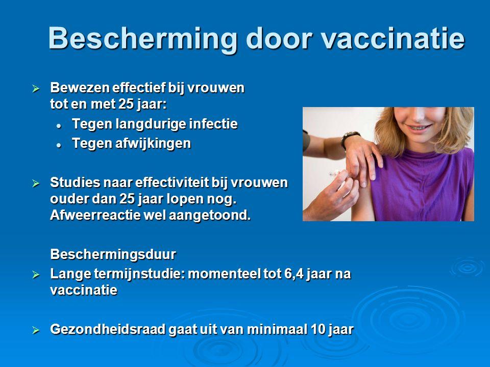 Bescherming door vaccinatie  Bewezen effectief bij vrouwen tot en met 25 jaar:  Tegen langdurige infectie  Tegen afwijkingen  Studies naar effecti