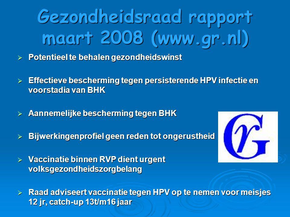 Gezondheidsraad rapport maart 2008 (www.gr.nl)  Potentieel te behalen gezondheidswinst  Effectieve bescherming tegen persisterende HPV infectie en v