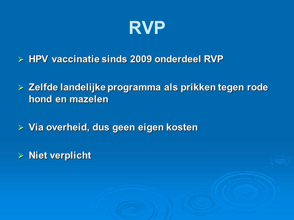 RVP  HPV vaccinatie sinds 2009 onderdeel RVP  Zelfde landelijke programma als prikken tegen rode hond en mazelen  Via overheid, dus geen eigen kost