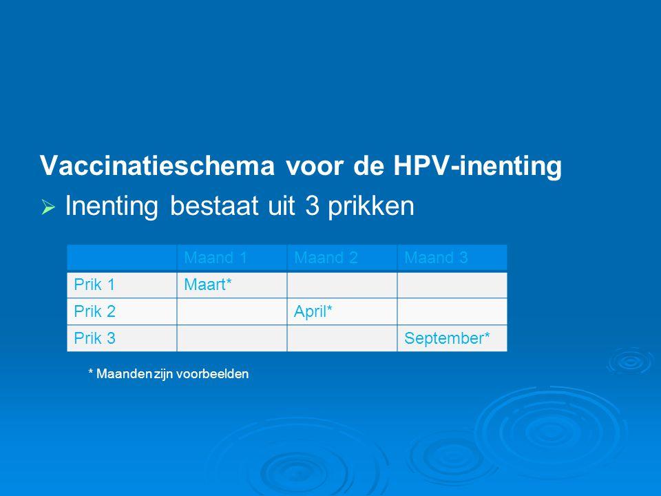 Vaccinatieschema voor de HPV-inenting   Inenting bestaat uit 3 prikken Maand 1Maand 2Maand 3 Prik 1Maart* Prik 2April* Prik 3September* * Maanden zi