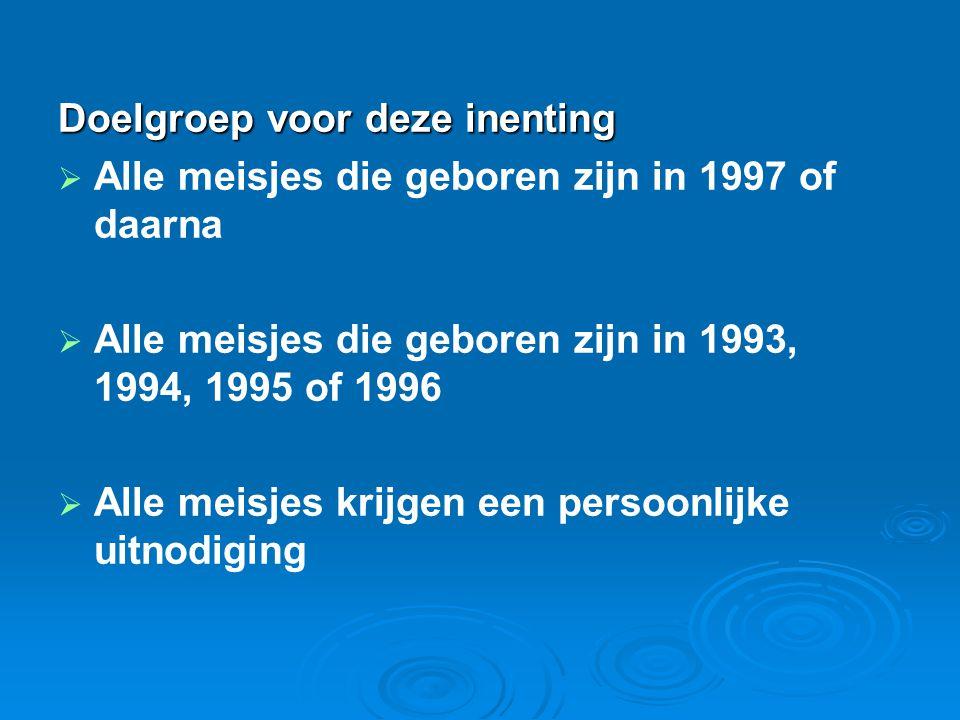 Doelgroep voor deze inenting   Alle meisjes die geboren zijn in 1997 of daarna   Alle meisjes die geboren zijn in 1993, 1994, 1995 of 1996   All