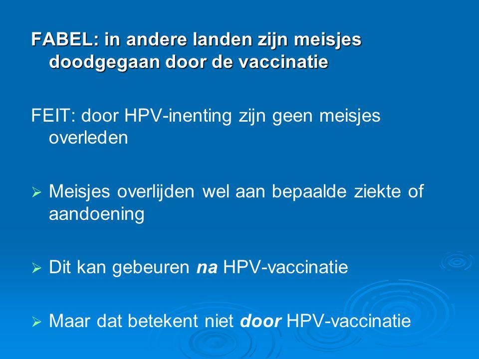 FABEL: in andere landen zijn meisjes doodgegaan door de vaccinatie FEIT: door HPV-inenting zijn geen meisjes overleden   Meisjes overlijden wel aan