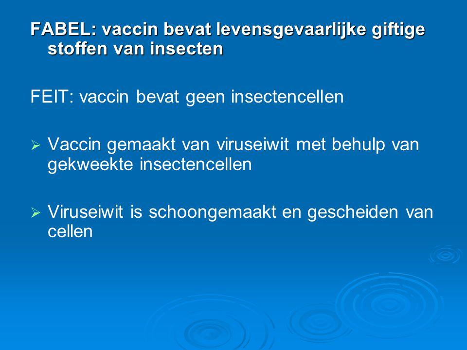 FABEL: vaccin bevat levensgevaarlijke giftige stoffen van insecten FEIT: vaccin bevat geen insectencellen   Vaccin gemaakt van viruseiwit met behulp