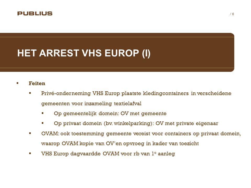 / 6  Feiten  Privé-onderneming VHS Europ plaatste kledingcontainers in verscheidene gemeenten voor inzameling textielafval  Op gemeentelijk domein: OV met gemeente  Op privaat domein (bv.
