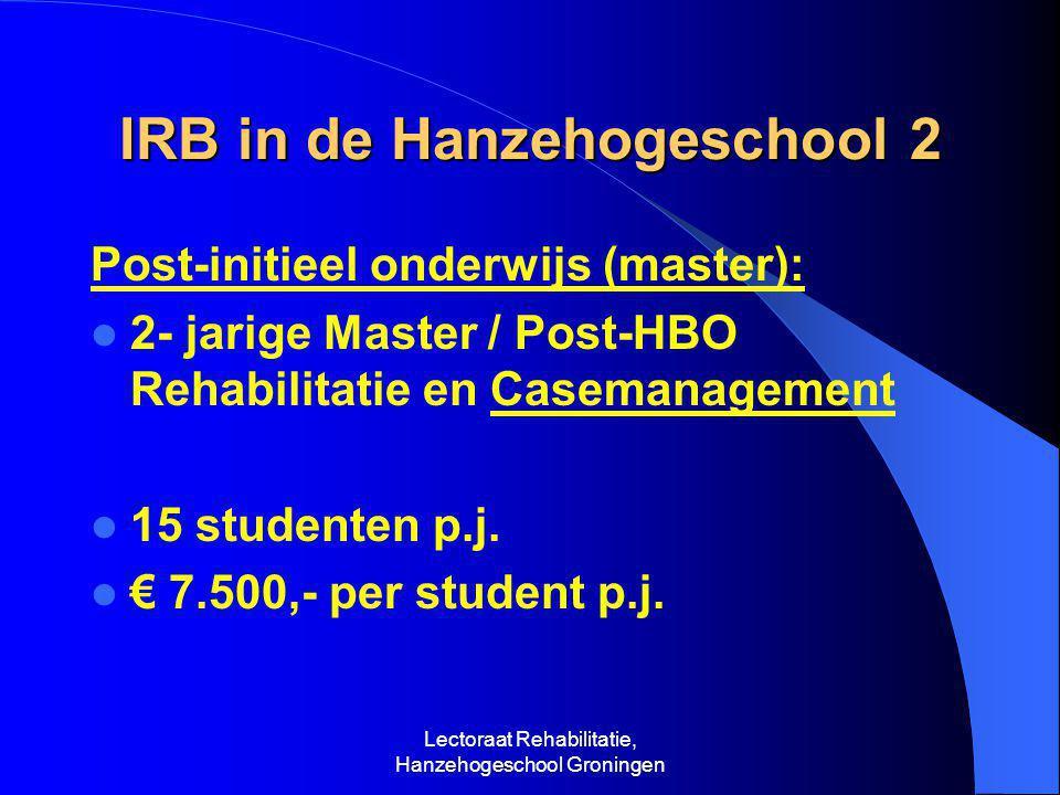 Lectoraat Rehabilitatie, Hanzehogeschool Groningen IRB in de Hanzehogeschool 2 Post-initieel onderwijs (master):  2- jarige Master / Post-HBO Rehabilitatie en Casemanagement  15 studenten p.j.