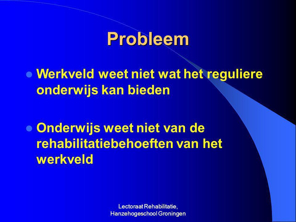 Lectoraat Rehabilitatie, Hanzehogeschool Groningen Probleem  Werkveld weet niet wat het reguliere onderwijs kan bieden  Onderwijs weet niet van de rehabilitatiebehoeften van het werkveld