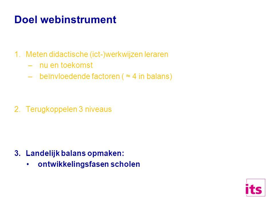 Doel webinstrument 1.Meten didactische (ict-)werkwijzen leraren –nu en toekomst –beïnvloedende factoren ( ≈ 4 in balans) 2.Terugkoppelen 3 niveaus 3.L