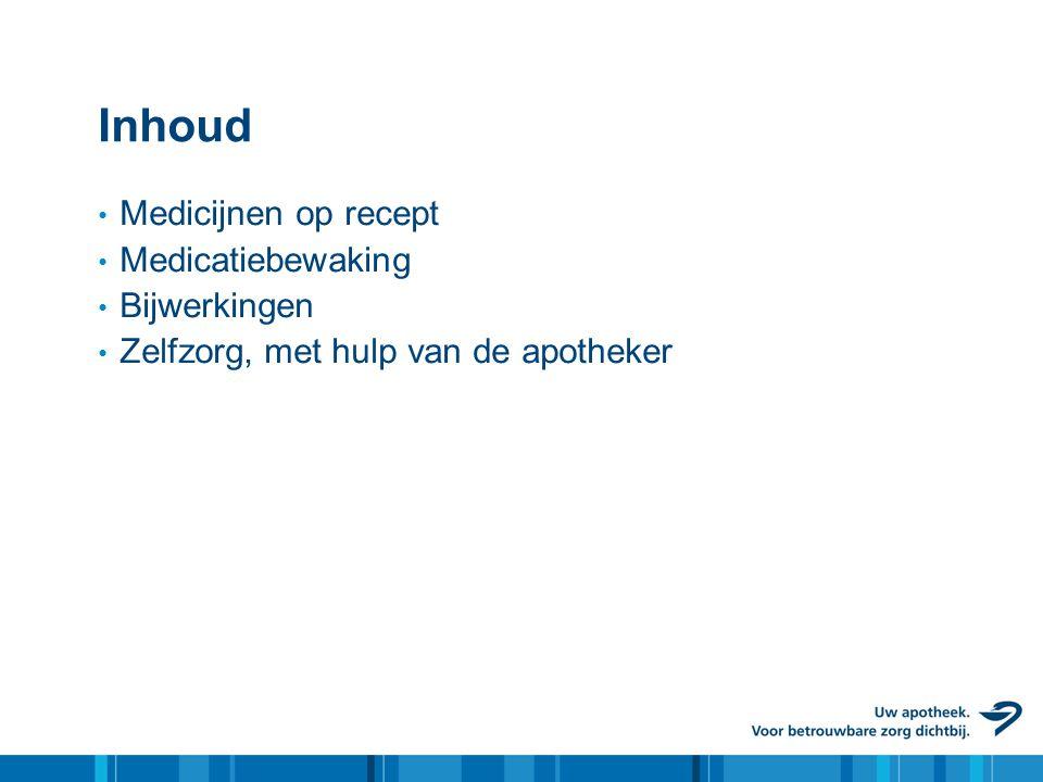 Inhoud • Medicijnen op recept • Medicatiebewaking • Bijwerkingen • Zelfzorg, met hulp van de apotheker