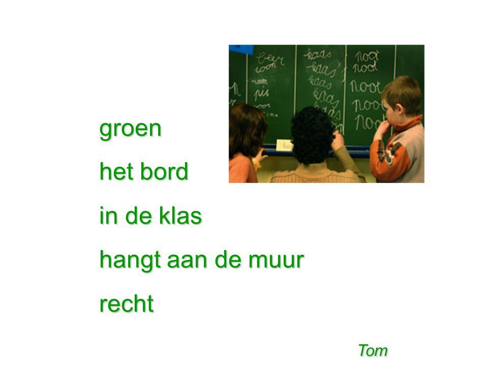 groen het bord in de klas hangt aan de muur recht Tom Tom