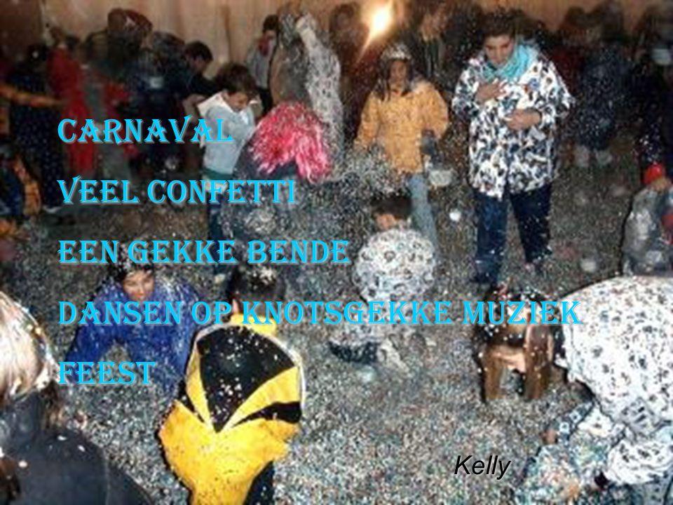 carnaval veel confetti een gekke bende dansen op knotsgekke muziek feest Kelly Kelly