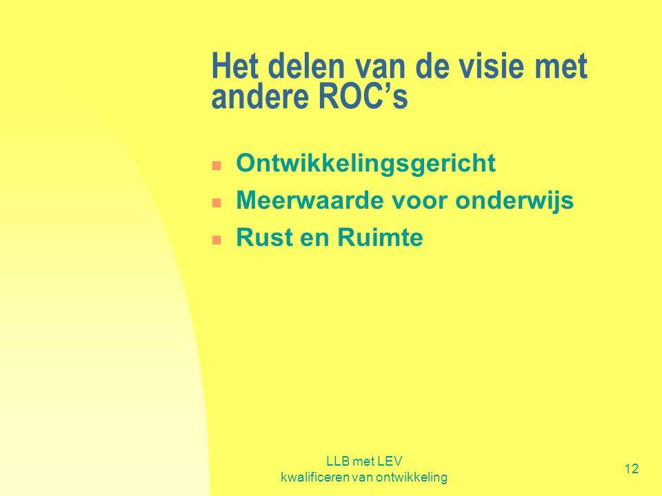 LLB met LEV kwalificeren van ontwikkeling 12 Het delen van de visie met andere ROC's  Ontwikkelingsgericht  Meerwaarde voor onderwijs  Rust en Ruim