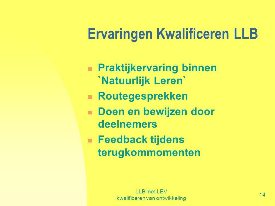LLB met LEV kwalificeren van ontwikkeling 14 Ervaringen Kwalificeren LLB  Praktijkervaring binnen `Natuurlijk Leren`  Routegesprekken  Doen en bewi