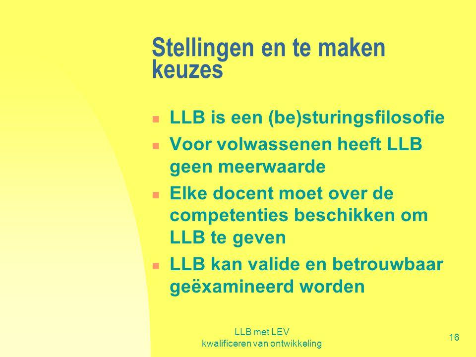 LLB met LEV kwalificeren van ontwikkeling 16 Stellingen en te maken keuzes  LLB is een (be)sturingsfilosofie  Voor volwassenen heeft LLB geen meerwa