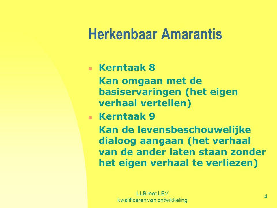 LLB met LEV kwalificeren van ontwikkeling 4 Herkenbaar Amarantis  Kerntaak 8 Kan omgaan met de basiservaringen (het eigen verhaal vertellen)  Kernta