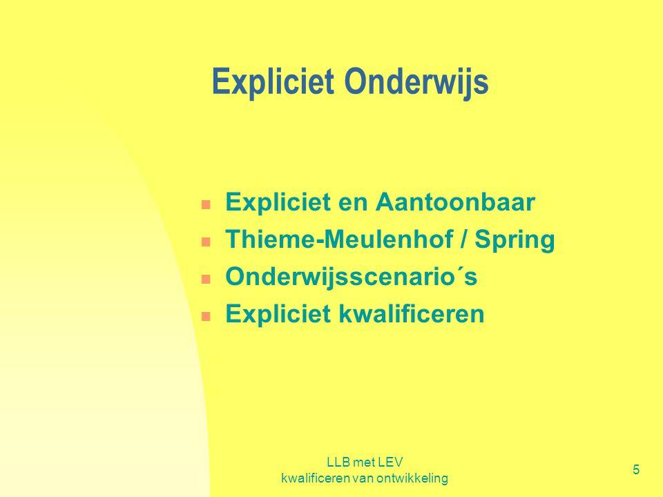 LLB met LEV kwalificeren van ontwikkeling 5 Expliciet Onderwijs  Expliciet en Aantoonbaar  Thieme-Meulenhof / Spring  Onderwijsscenario´s  Explici