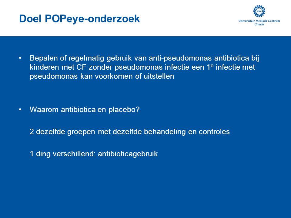 Doel POPeye-onderzoek •Bepalen of regelmatig gebruik van anti-pseudomonas antibiotica bij kinderen met CF zonder pseudomonas infectie een 1 e infectie met pseudomonas kan voorkomen of uitstellen •Waarom antibiotica en placebo.
