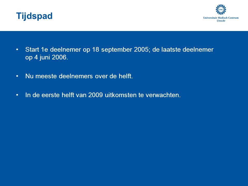 Tijdspad •Start 1e deelnemer op 18 september 2005; de laatste deelnemer op 4 juni 2006.