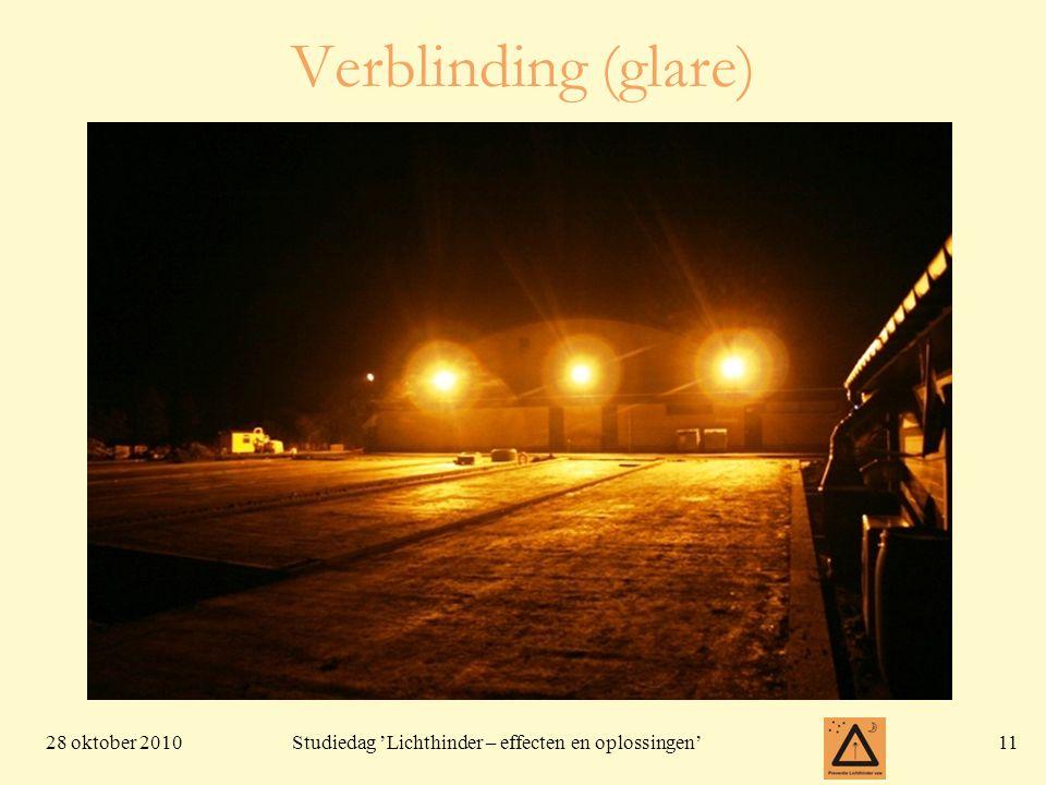 28 oktober 201011 Studiedag 'Lichthinder – effecten en oplossingen' Verblinding (glare)