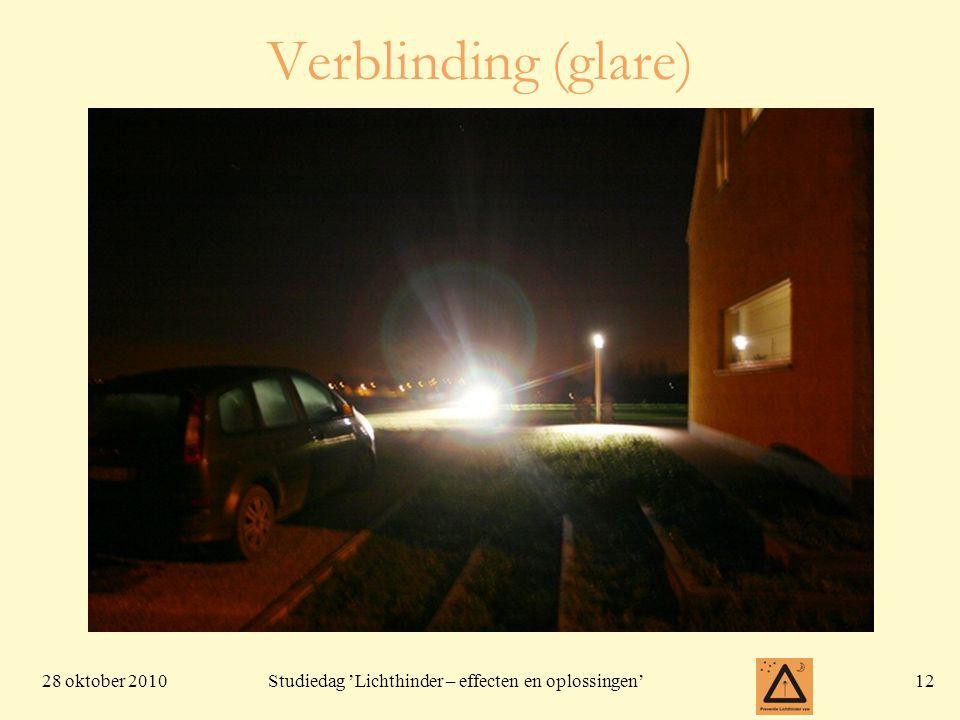 28 oktober 201012 Studiedag 'Lichthinder – effecten en oplossingen' Verblinding (glare)
