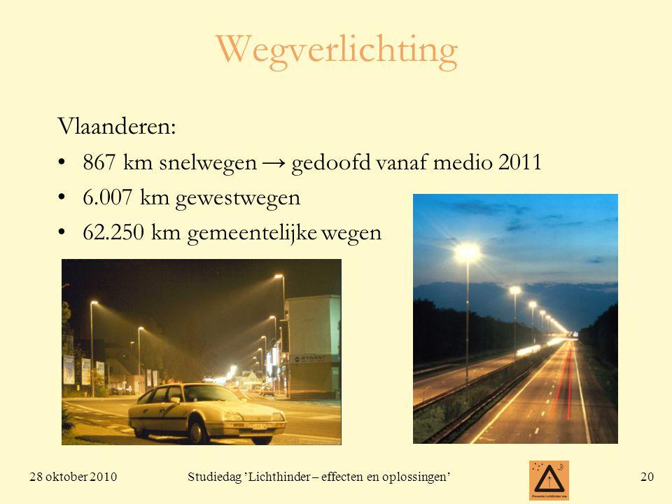 28 oktober 201020 Studiedag 'Lichthinder – effecten en oplossingen' Wegverlichting Vlaanderen: •867 km snelwegen → gedoofd vanaf medio 2011 •6.007 km