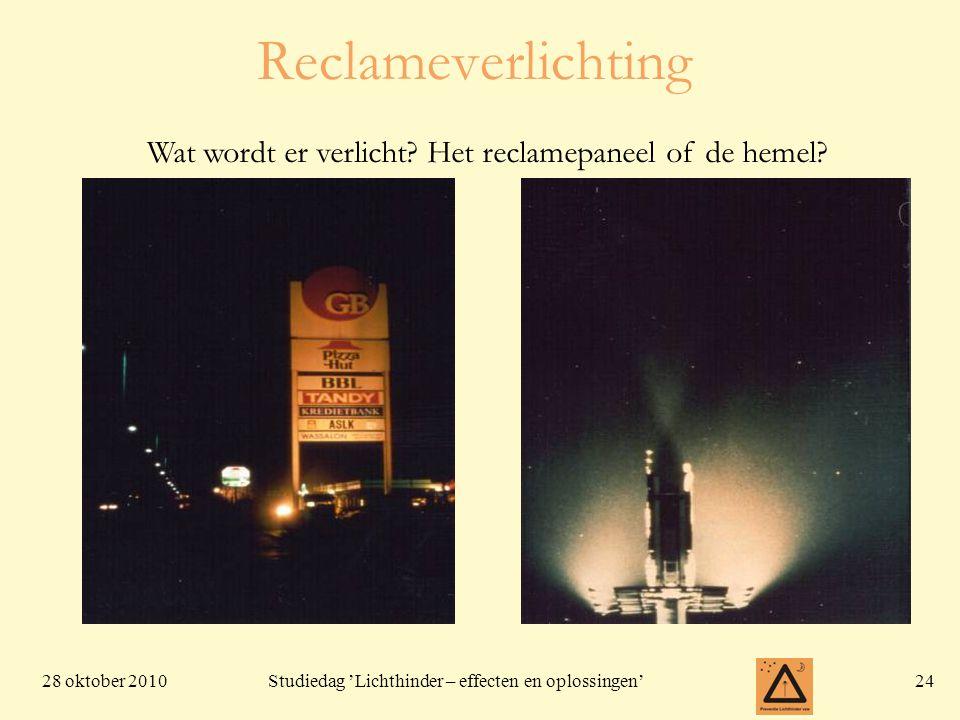 28 oktober 201024 Studiedag 'Lichthinder – effecten en oplossingen' Reclameverlichting Wat wordt er verlicht? Het reclamepaneel of de hemel?