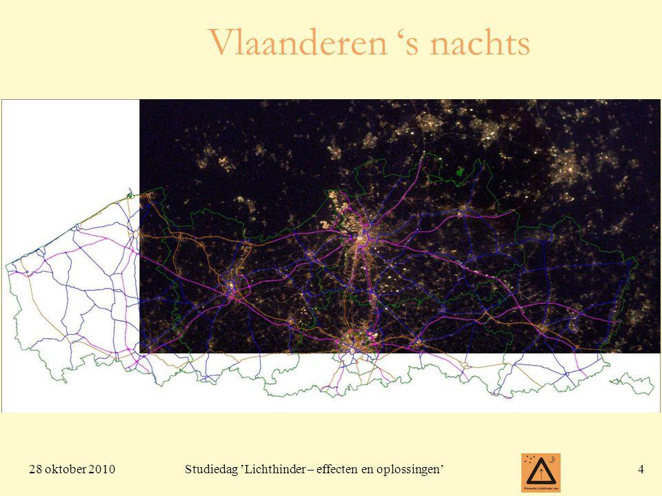 28 oktober 201045 Studiedag 'Lichthinder – effecten en oplossingen' Regelgeving: Vlarem II en hoe Milieuinspectie daar mee omgaat •Sky-Tracer = klemtoonverlichting