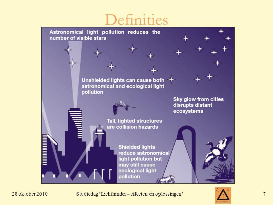 28 oktober 20108 Studiedag 'Lichthinder – effecten en oplossingen' Verschillende vormen •Lichtkoepel •Verblinding (glare) •Doorbraak (tresspass) •Verspilling