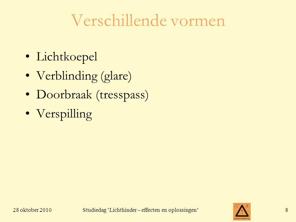28 oktober 201019 Studiedag 'Lichthinder – effecten en oplossingen' Wegverlichting • De wegverlichting in Vlaanderen zorgt bij benadering voor genoeg licht om het hele Vlaamse grondgebied te verlichten tot ongeveer drie keer het vollemaan-niveau. (MIRA-T 2007)
